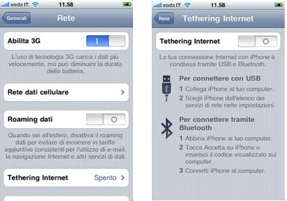 Vodafone tethering iphone costi