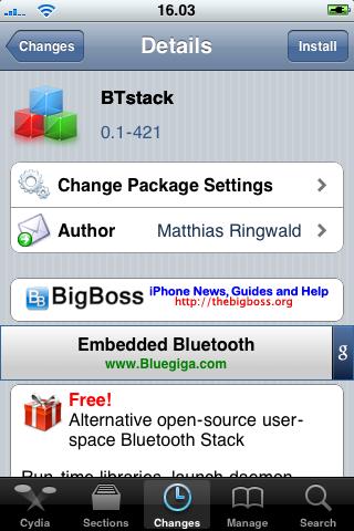 BtStack + WiiMote OpenGL-ES Demo (Cydia): il progetto bluetooth su