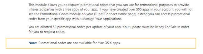 Codici promozionali per il Mac App Store? Apple dice di no