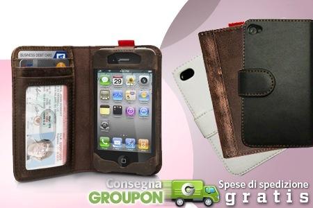 custodia a portafoglio per iphone 4s
