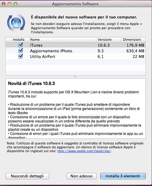 ultima versione di itunes 10.6.3