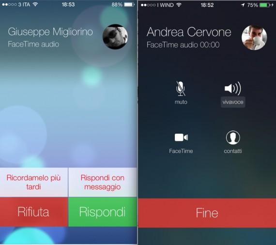 Facetime su iOS 7 fa anche le chiamate audio
