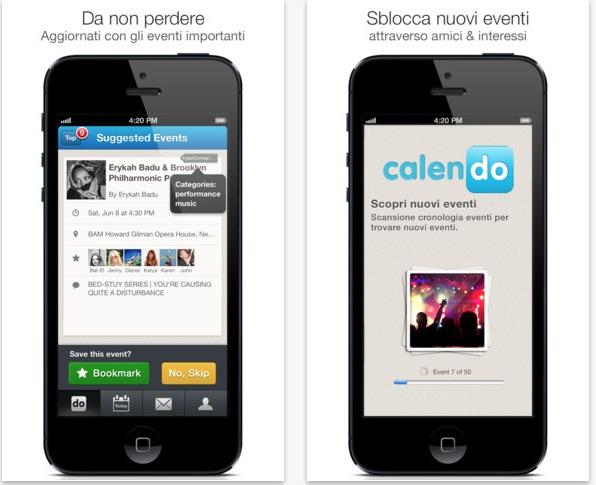 trova gli eventi nella tua zona con calendo iphone italia