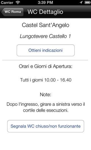 WC Roma: l\'app che trova i bagni pubblici nella capitale - iPhone Italia