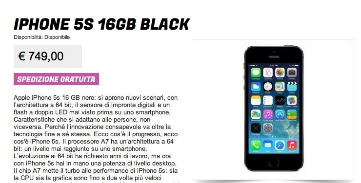 iphone 5s plus 16 giga prezzo