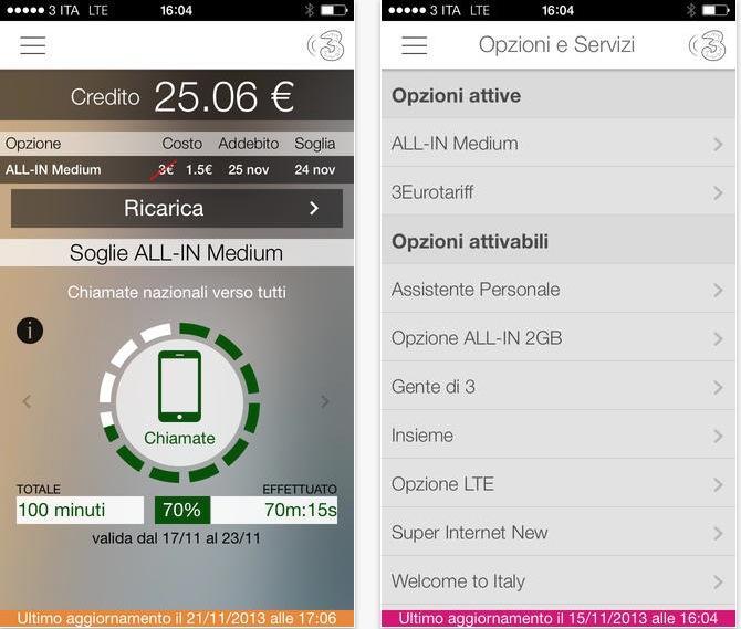 Nuovo aggiornamento per area clienti 3 iphone italia for Area clienti 3 servizi in abbonamento