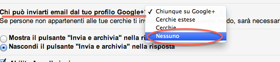 menu tendina google plus gmail