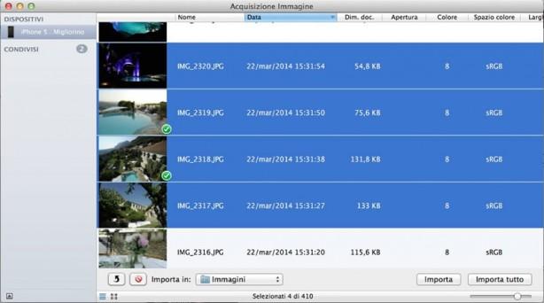 Acquisizione Immagine iPhone iPad Mac