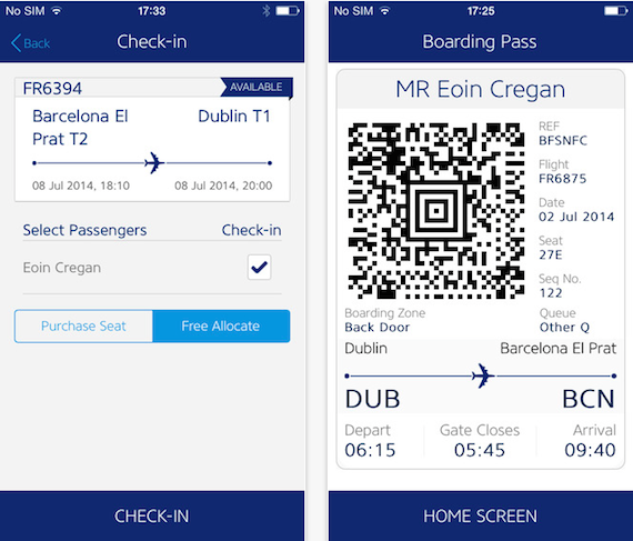 RyanAir - iPhone App - 2