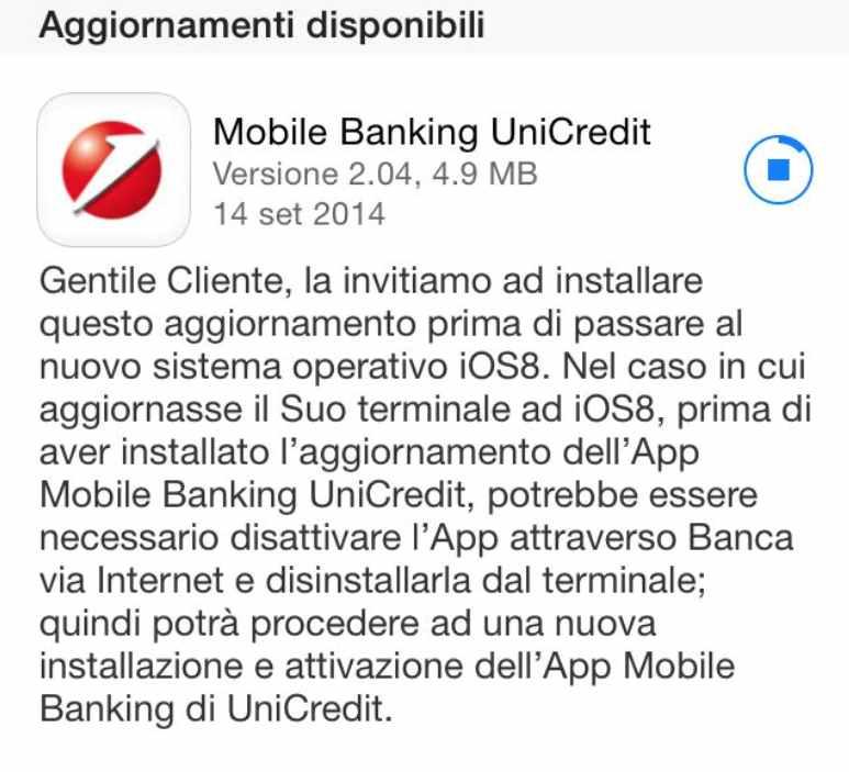 Lapplicazione Di Mobile Banking Unicredit Si Aggiorna Per Ios 8