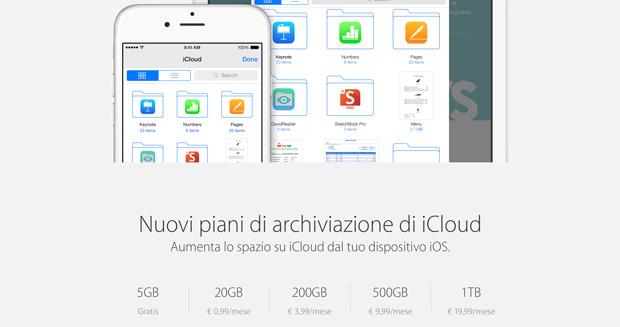 Apple attiva i nuovi piani e prezzi per icloud iphone italia for Nuovi piani domestici e prezzi