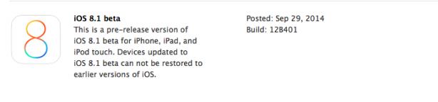 iOS 8.1 beta 1 disponibile per tutti gli sviluppatori