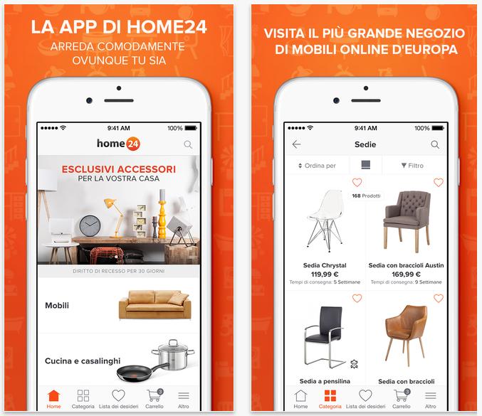 Home24 l app per l acquisto online di mobili lampade ed for Per la casa online
