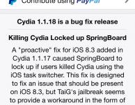 Cydia si aggiorna alla versione 1.1.18 e diventa compatibile con iOS 8.2