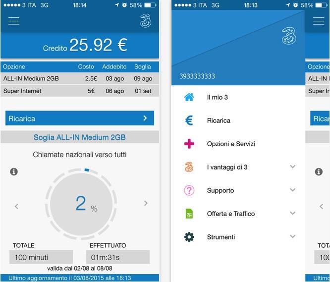 Area clienti 3 si aggiorna con una nuova grafica iphone for Area clienti 3 servizi in abbonamento