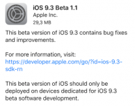 Apple rilascia iOS 9.3 beta 1.1 per gli sviluppatori!