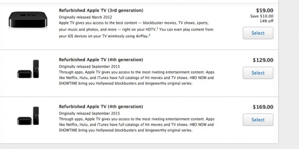 Apple has started selling the Apple Tv 4 reconditi