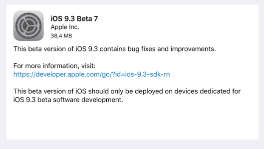 Apple rilascia iOS 9.3 beta 7 per iPhone