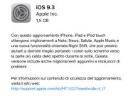 iOS 9.3 è ora disponibile per il download! [LINK DIRETTI]