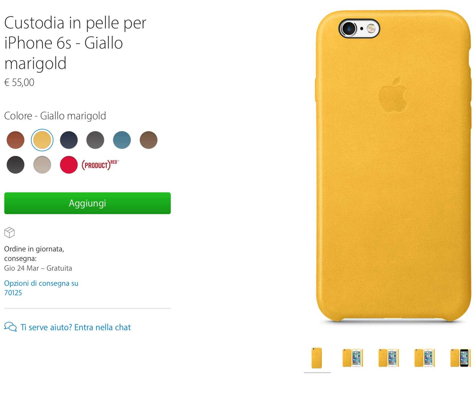 custodia iphone 7 gialla