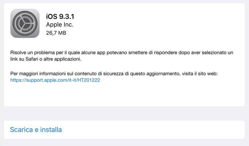 AGGIORNAMENTO IOS 9.3 SCARICA