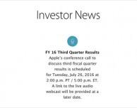I risultati fiscali Apple del Q3 2016 saranno rivelati il 26 luglio