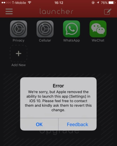 iOS 10 blocca alcune funzioni di Launcher