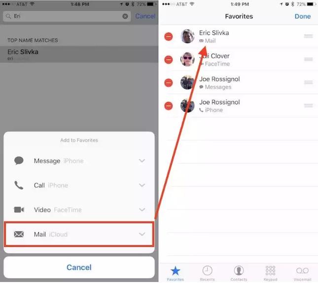 Come personalizzare i contatti e la sezione preferiti con iOS 10