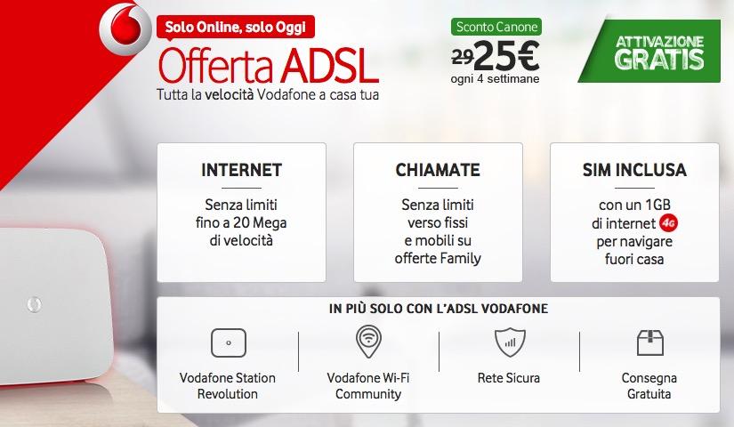 Vodafone offre l'attivazione gratuita sulle sue offerte ADSL