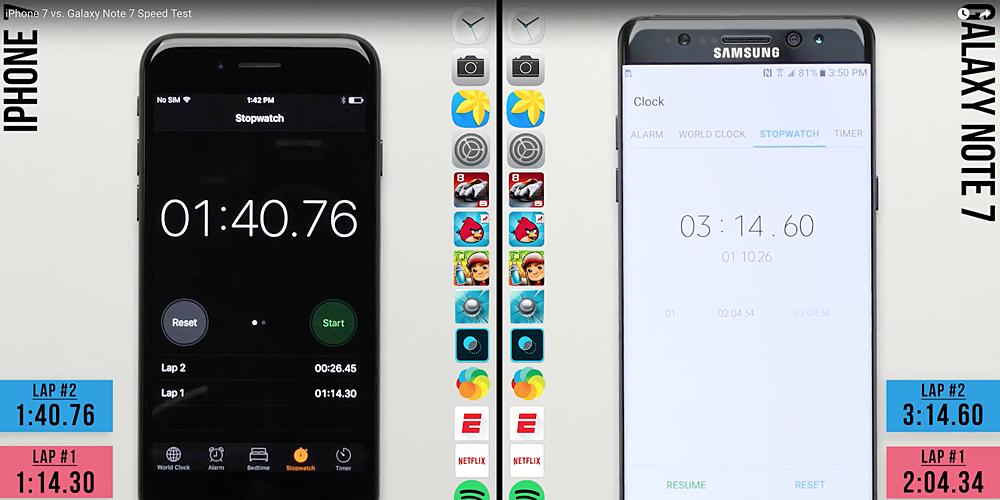 Appare in rete uno speed test tra iPhone 7 e Galaxy Note 7
