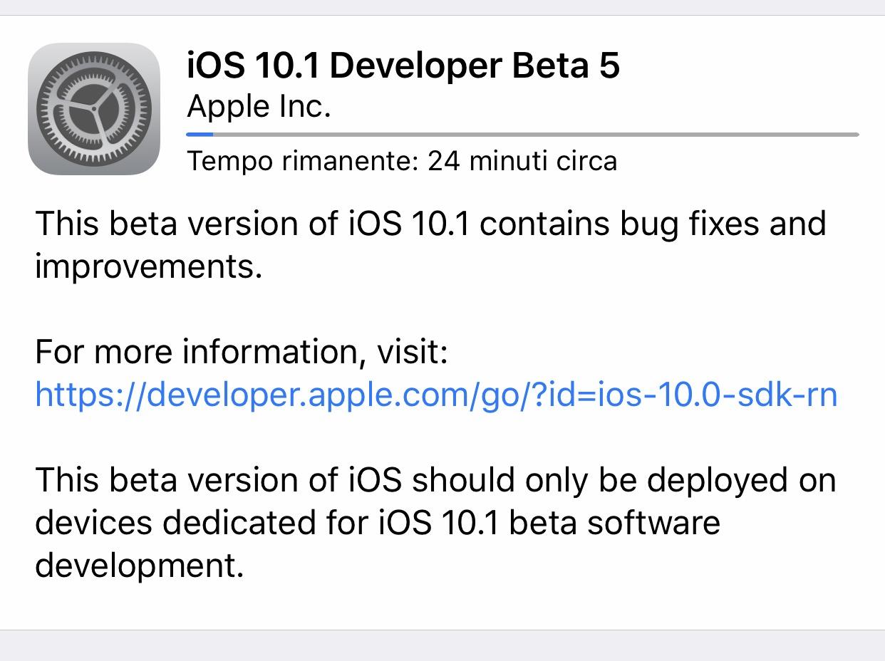 Apple rilascia iOS 10.1 beta 5 per sviluppatori e tester pubblici!