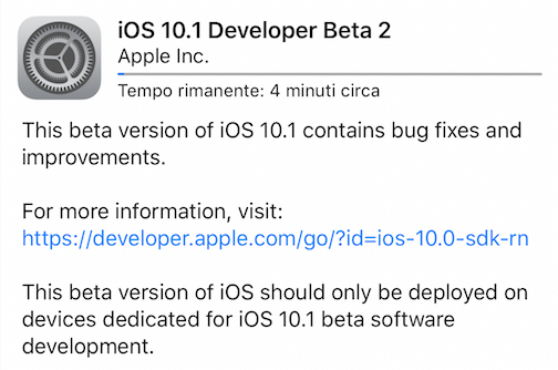 Apple rilascia iOS 10.1 beta 2!