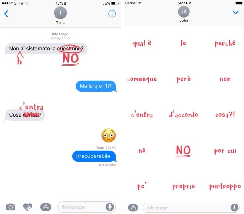 HorrorGrafia: fai notare gli orrori grammaticali con gli adesivi di iMessage