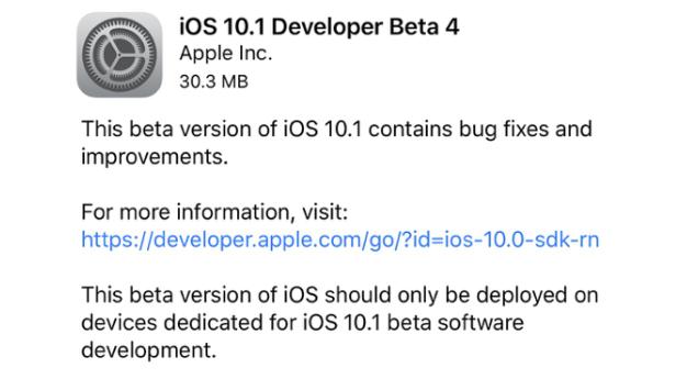 Apple rilascia anche iOS 10.1 beta 4