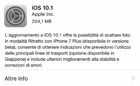 """Apple rilascia iOS 10.1 per tutti gli utenti: arriva la modalità """"Ritratto"""" su iPhone 7 Plus!"""