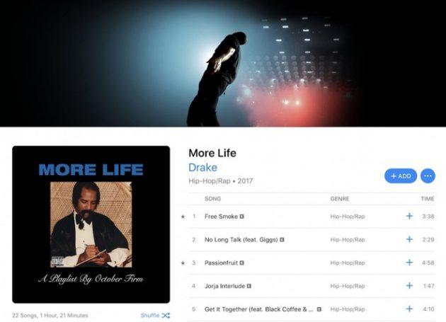 Il nuovo album di Drake viene ascoltato più su Apple Music che su Spotify
