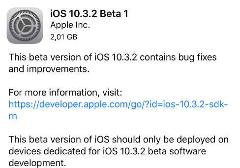 Apple rilascia iOS 10.3.2 beta, watchOS 3.2.2 beta e tvOS 10.2.1 beta!