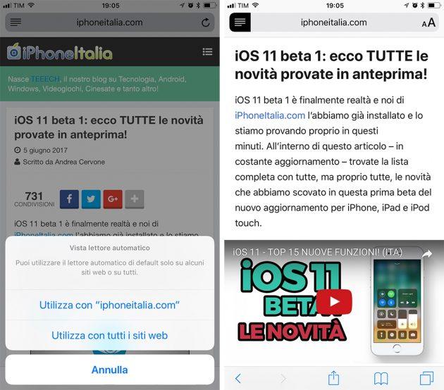 Ecco come impostare in automatico la modalità Lettura su Safari in iOS 11