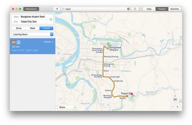Apple Maps, le info sui trasporti pubblici arrivano anche a Taiwan