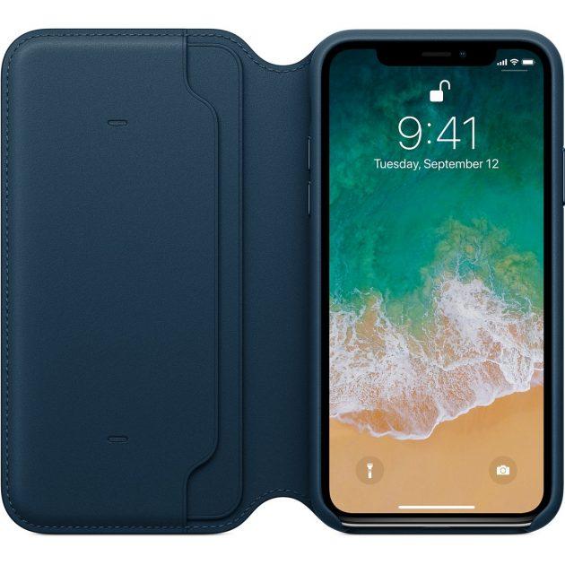 custodia folio in pelle per iphone xs max