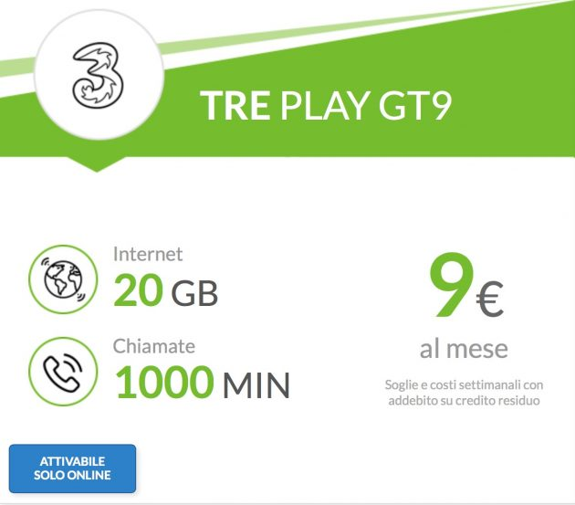 Da Tre arriva l\'offerta PLAY GT9: 1000 minuti e 20 GB a 9€ mensili ...