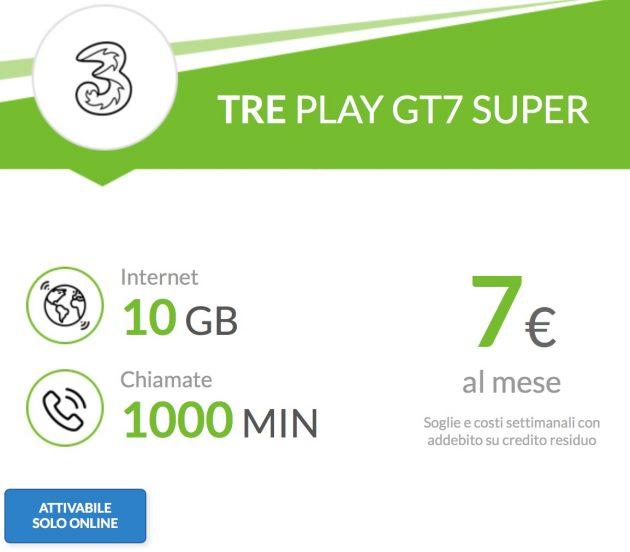 Nuova offerta Tre PLAY GT7 Super: 7€ al mese per 10GB e 1000 minuti ...