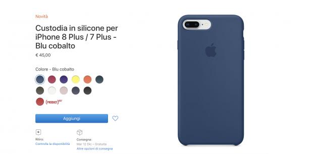 custodia in silicone per iphone 8 / 7 - blu cosmo