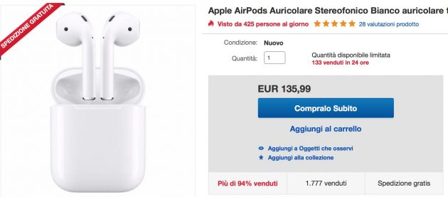 AirPods in offerta a 149€ su eBay!