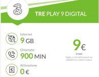 TRE Play 9 Digital: 900 minuti e 9 GB a 9€ al mese
