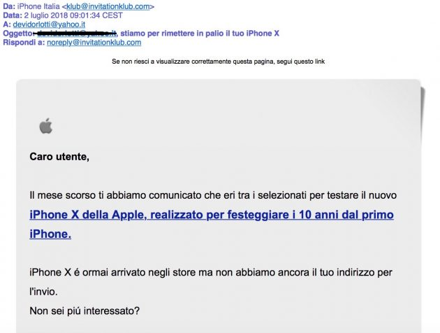 """Nuova mail di phishing con falso mittente """"iPhone Italia"""""""