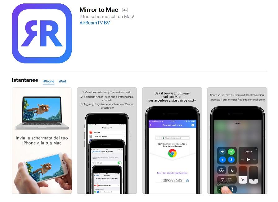 AirBeamTV: Mirroring iPhone - PC/Mac utilizzando lo