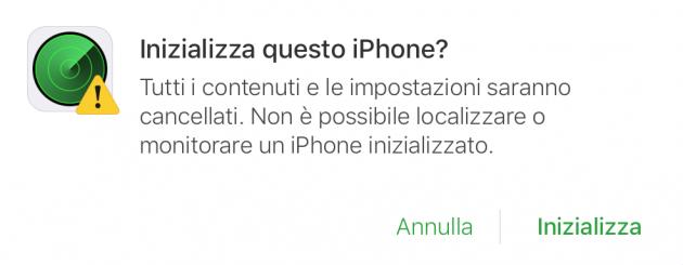 Inizializzare iPhone e bloccarlo se rubato