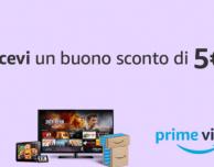 Amazon regala 5€ di buono se guardi un video su Prime per almeno 5 minuti