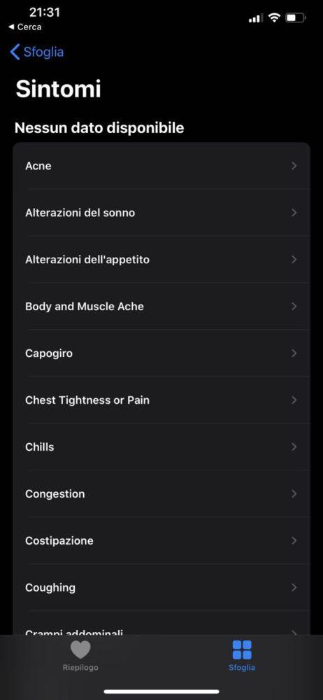 Salute sintomi app
